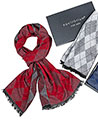 Mens Double Sided Diamond Scarf Red