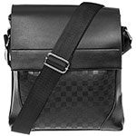 Men Squares Messenger Bag Black