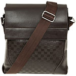 Men Squares Messenger Bag Brown