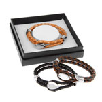 Mens Double Leather Looped Bracelet