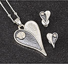 Necklace and Earrings Mono Tone Heartfelt Set