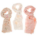 Pastel Embroidered Flower Scarf