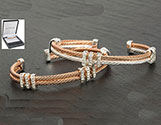 Bracelet Double Rope Bangle Rose Gold and Clear