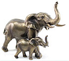 Art Bronze Elephant Pair Large