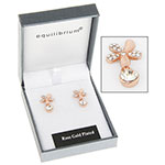 Rose Gold Plated Flower Crystal Earrings