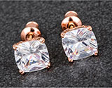 Earrings Rose Gold Sparkle Cube