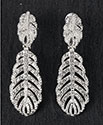 Earrings Diamante Feather Clear
