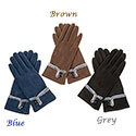 Gloves Suede Effect Fur Trim Blue Gloves