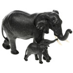 Black Elephant Mother And Baby