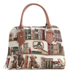 Bear and Book Tapestry Convertible  Bag