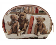 Bear and Book Tapestry Cosmetics  Bag