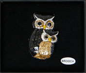 Owl Brooch Black