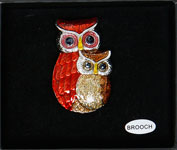 Owl Brooch Red