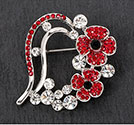 Brooch Poppy Heart