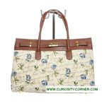 Blue Rose Tapestry Buckled Bag