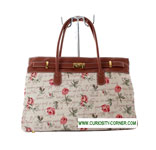 Pink Rose Tapestry Buckled Bag