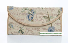 Blue Rose Tapestry Envelope Purse