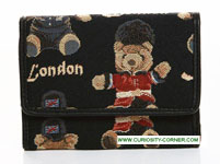 London Bear Tapestry Tri Fold Purse